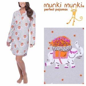 Munki Munki Other - Munki Munki Flannel Elephant Nightshirt Pajamas