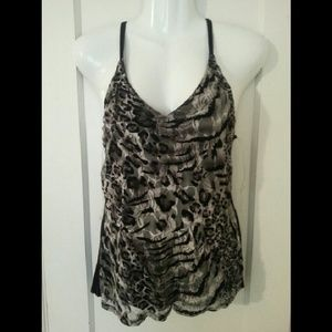 Tops - Black Floral Animal Print Lace Tank Top