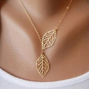 Jewelry - GOLD FILLED DOUBLE LEAF BOHEMIAN NECKLACE NEW