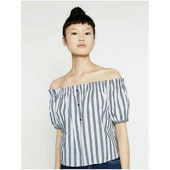 c5ed9d4c Zara Trafaluc Striped Off Shoulder Top