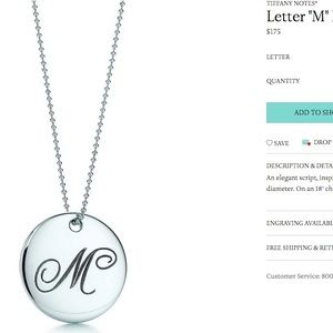 cd1c16fa2 Tiffany & Co. Jewelry | Tiffany Co Notes Letter M Necklace 30 Chain ...