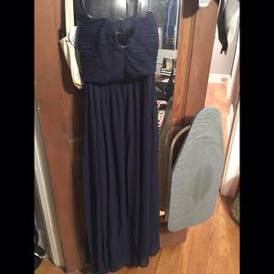 Navy blue pleated chiffon Top Bandeau Maxi Dress
