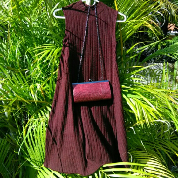 Allison Brittney  Dresses - Burgundy Mock Turtleneck A Line Swing Dress