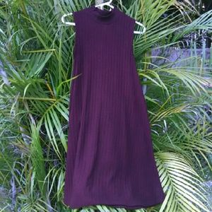 Burgundy Mock Turtleneck A Line Swing Dress