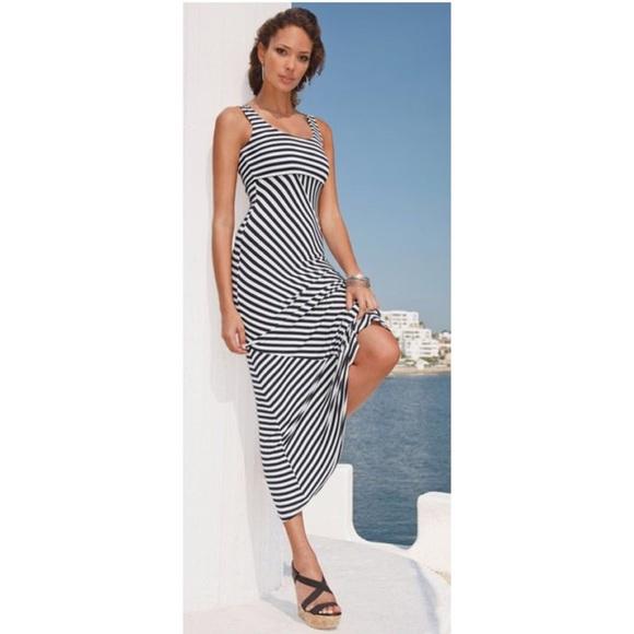 ab70a528621 Boston Proper Dresses   Skirts - Boston Proper Navy and White Striped Maxi  Dress