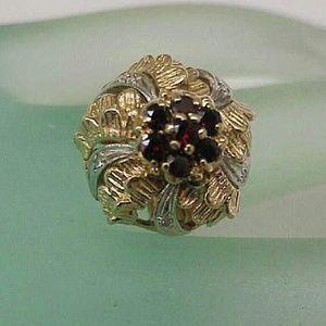 Jewelry - Art deco 14k gold platinum diamonds & garnets ring