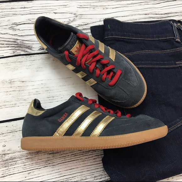 official great fit clearance sale ADIDAS Samba Suede Sneakers Blue Red Gold