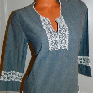 BODEN TUNIC Top BLUE White LACY LACE 6 Medium