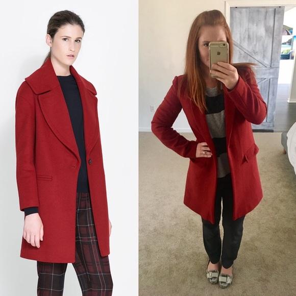 85% off Zara Jackets & Blazers - ZARA red wool COAT sz S from ...