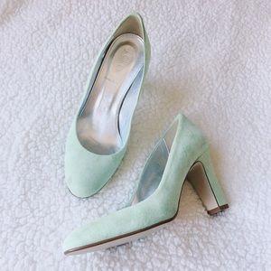 {j. crew} mint suede heels NWOT