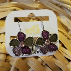 Bellerose Jewelry - Super Cute Purple & Brown panel flower Earring