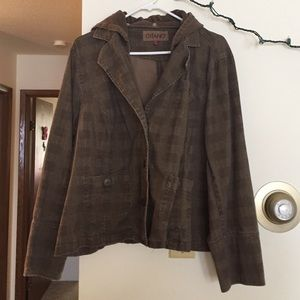 Gitano Jackets & Blazers - Gitano Brown Plaid Blazer with Hood