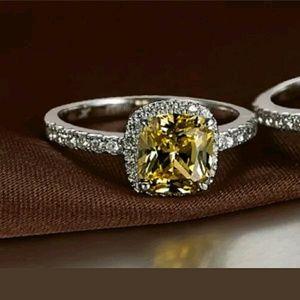 Moda Ragazza Jewelry - ⭐NEW! Yellow Princess Cut White Gold Plated