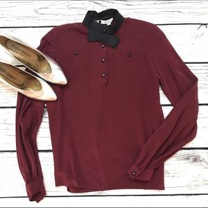 Valentino Tops - VALENTINO Vintages Maroon Black Bow Tie Blouse 80s