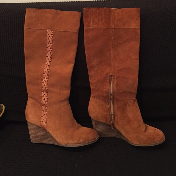 3095c71cde57 Lucky Brand Shoes - Lucky Brand Suede wedge mid calf boots