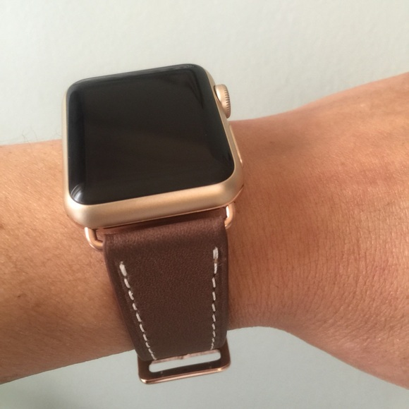 5ff673639 Other | Rose Gold Dark Brown Apple Watch Leather Band | Poshmark