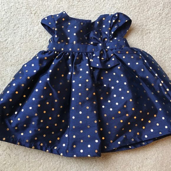 Carters Dresses Nwot Newborn Formal Dress Navy With Gold Dots