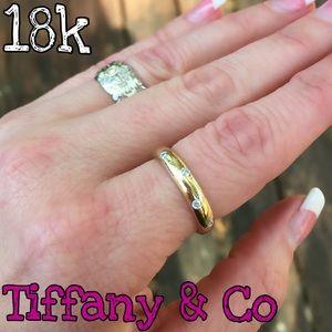 Authentic Tiffany & Co 18k Platinum Diamond Band