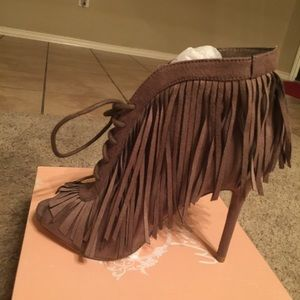 Shoes - BNIB Taupe Lace Up Booties With Fringe