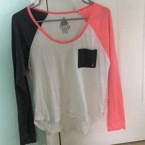 long sleeve tee gray and pink volcom🏵