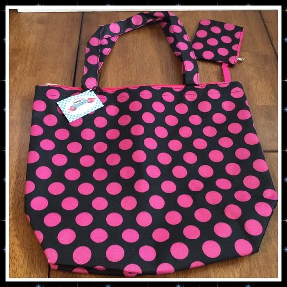Boutique Handbags - Polka Dot Canvas Tote w/ Coin Purse