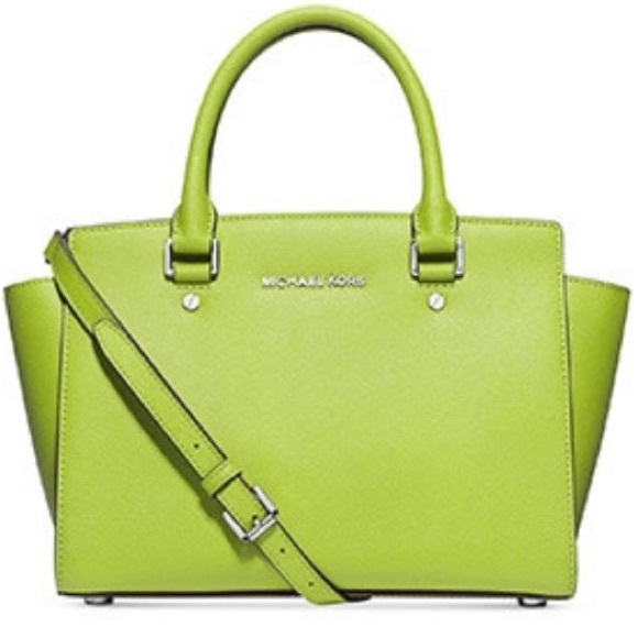 62% off Michael Kors Handbags - Lime Green Michael Kors Selma ...