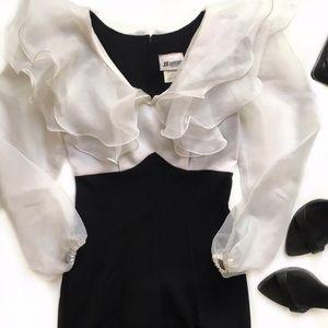 Vintage Pants - Vintage Black White Ruffle Collar Jumpsuit