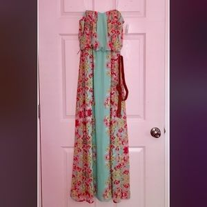 City Triangles Mint Floral Maxi Dress