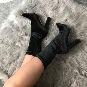Black velvet sock style zip up booties
