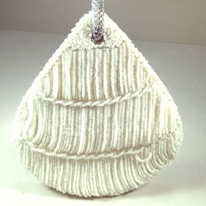 Walborg Handbags - WALBORG Stunning White Beaded Teardrop Evening Bag
