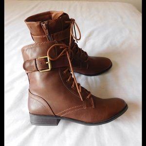 Shoes - Fancy Brown Strappy Booties W/Side Zipper &Buckles