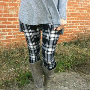 ·Plaid Knit Leggings·