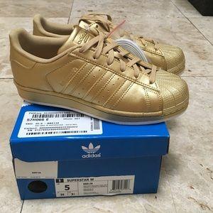 Adidas Shoes - NWT RARE Gold Adidas Superstar Originals