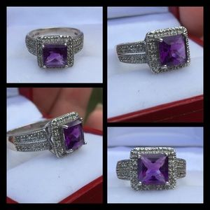 Clyde Duneier Jewelry - Sterling Silver Princess Cut Amethyst Ring