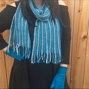 Accessories - Teal Knit Scarf, Hat & Glove Set