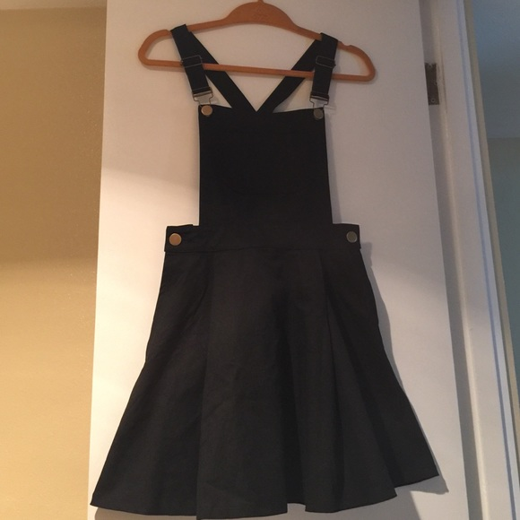 Black Overalls Crossback Circle Skirt Dress