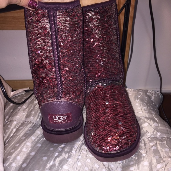 Silver & Burgundy Sparkle UGG Boot