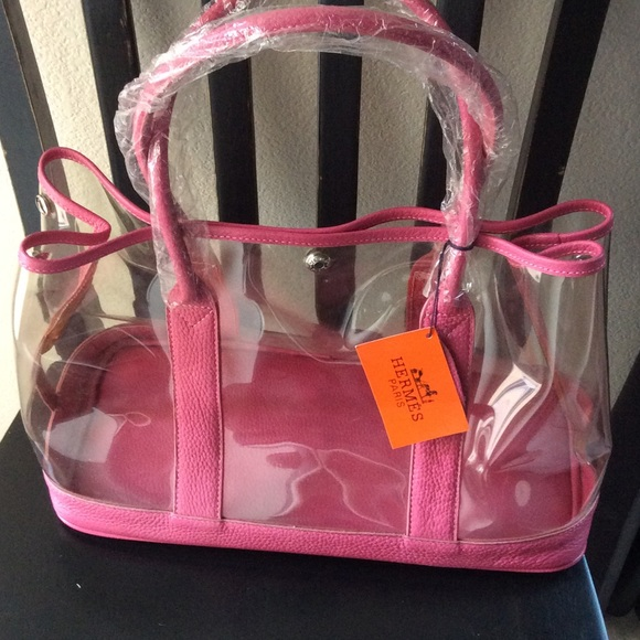 Handbags - Pink and clear vinyl large tote designer imposter fcc1a6133998f