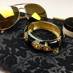 J. Crew Black and Gold Floral Clasp Bangle