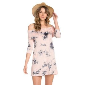 Tie Dye Print 3/4 Sleeve Dress