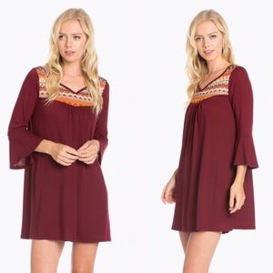 Flash SaleBell Sleeve Shift Dress Burgundy