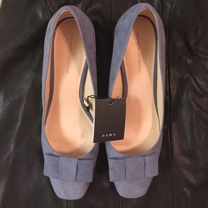 Zara ice blue suede blocked heel shoes size  8/39