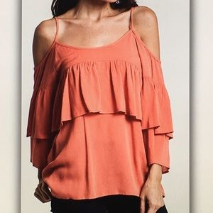 Umgee Tops - 🌷Coral off🌷shoulder flouncy blouse