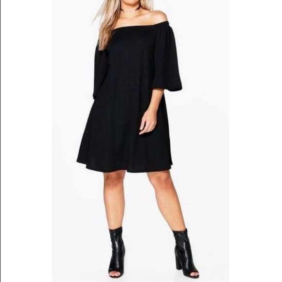 b411b8cd4f79a Dresses | Plus Size Black Off The Shoulder Swing Dress | Poshmark