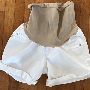 Pants - Maternity white denim shorts