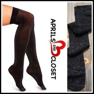 ❤️1-HOUR SALE❤️BLACK SPARKLE SOCKS Over The Knee