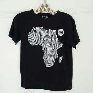 EDUN Tops - EDUN 'One' by Bono african finger print tee