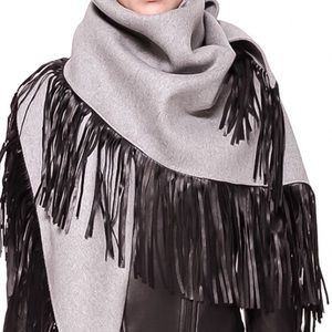 Mackage Accessories - Mackage grey scarf with black leather fringe