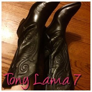 Tony Lama Shoes - TONY LAMA BLACK COWBOY BOOTS SIZE 7