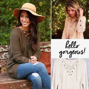 SALELUXE Boutique Lace Up Sweater Tunic Grommet